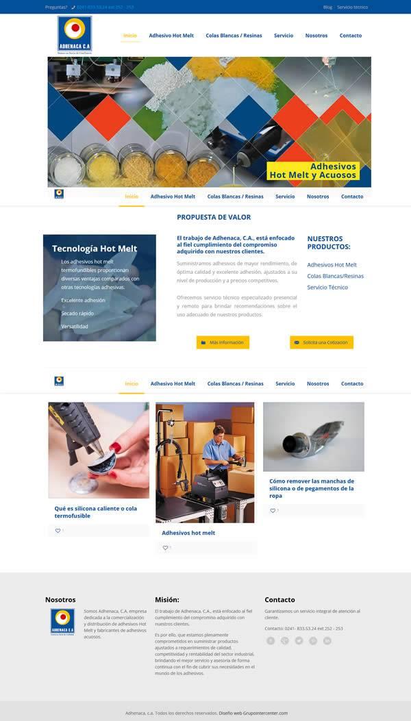 Adhenaca - Diseño web wordpress portafolio web