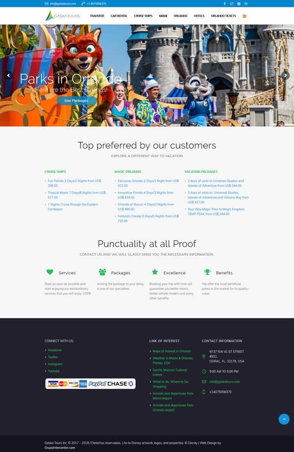 Gaska Tours - Diseño web tours-usa-doral-florida wordpress portafolio