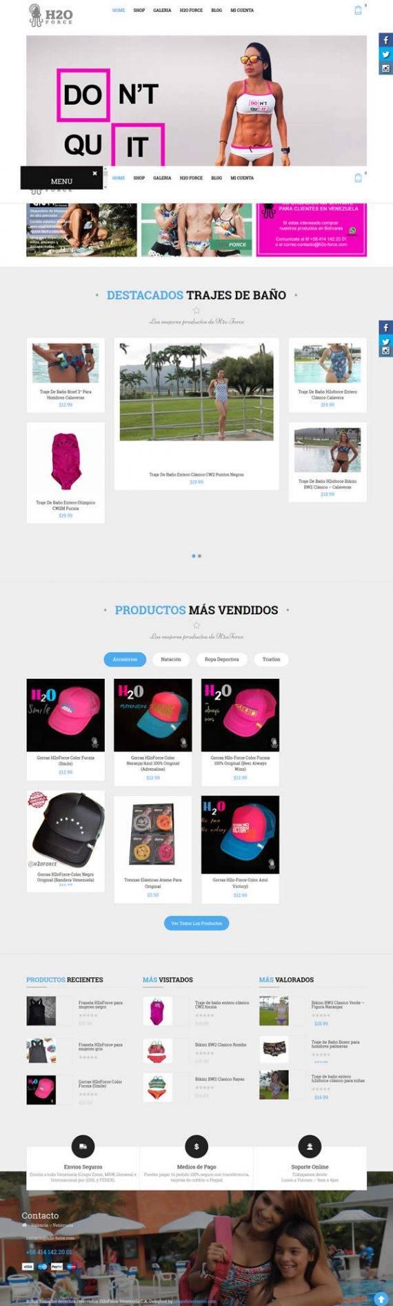 H2o-Force - Diseño web tienda virtual woocommerce portafolio