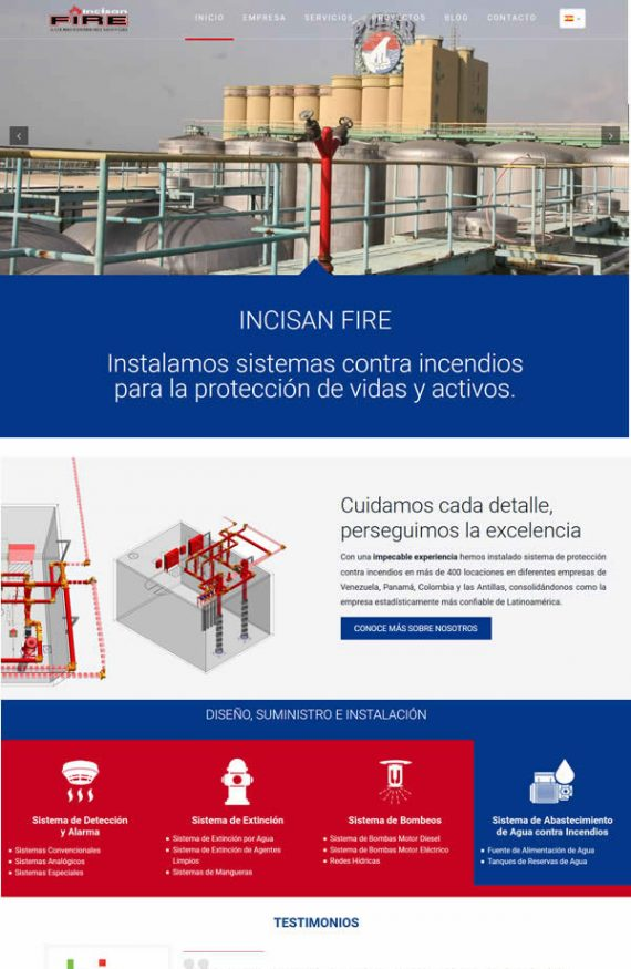 incisan fire diseño web wordpress bilingue portafolio