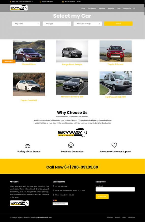 skyway car rentald diseño web wordpress
